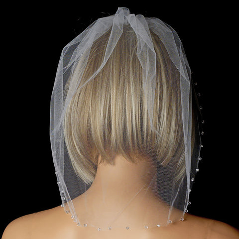 Single Layer Fine Birdcage Face Bridal Wedding Veil Blusher with Sparkling Crystal Edge 504