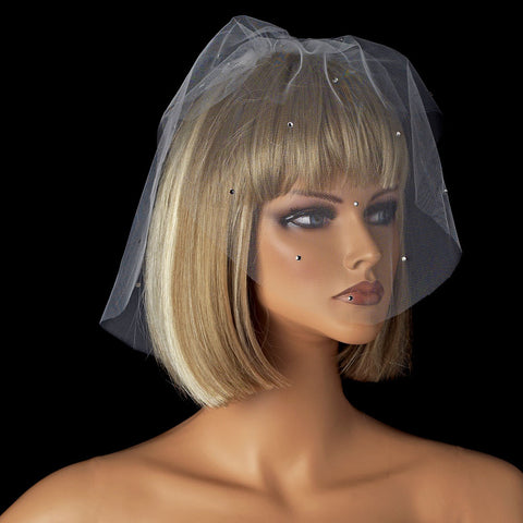 Two Layer Fine Birdcage Face Bridal Wedding Veil Scattered Throughout with Rhinestones 505