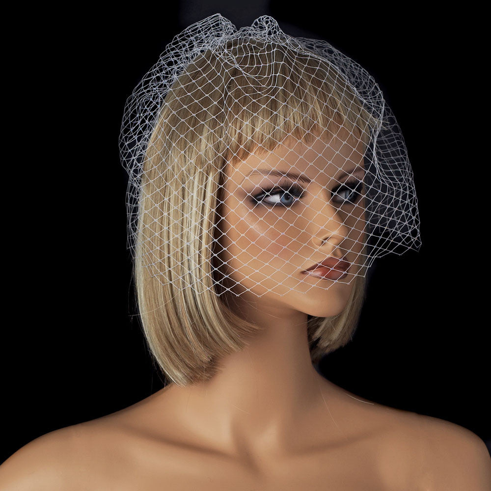 Bridal Wedding Couture Birdcage Bridal Wedding Veil Blusher with Simple Bridal Wedding Hair Comb in White or Ivory 700
