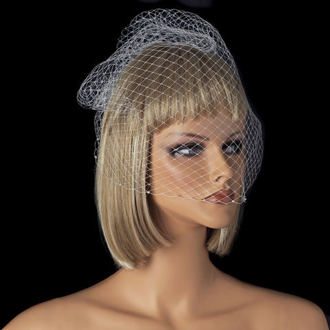Single Layer Russian Birdcage Face Bridal Wedding Veil on Bridal Wedding Hair Comb with Scalloping Pearl Edge 701