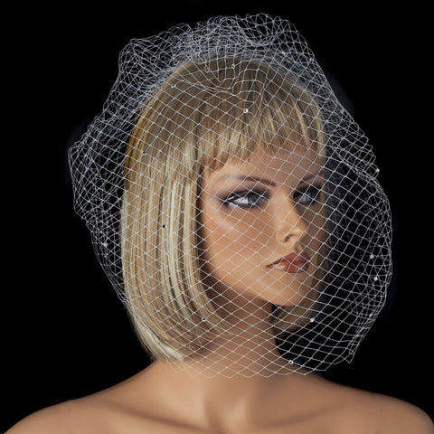 Single Layer Russian Birdcage Face Bridal Wedding Veil Scattered with Sparkling Rhinestones 702