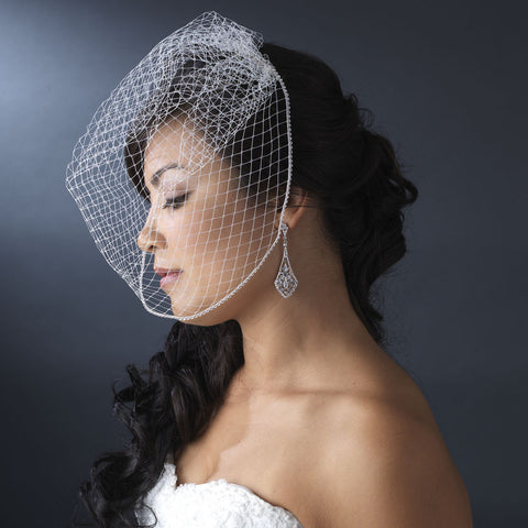 Single Layer Russian Birdcage Face Bridal Wedding Veil with Swarovski Rhinestone Edge & Attached Bridal Wedding Hair Comb 703