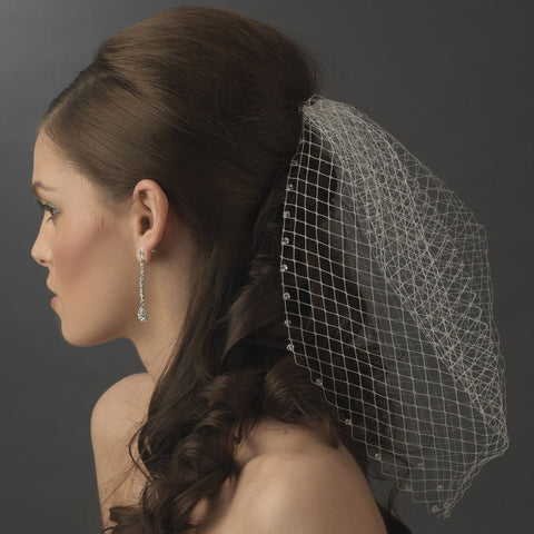 Single Layer Russian Birdcage Face Bridal Wedding Veil Attached To Bridal Wedding Hair Comb with Genuine Swarovski Rhinestone Edge 704