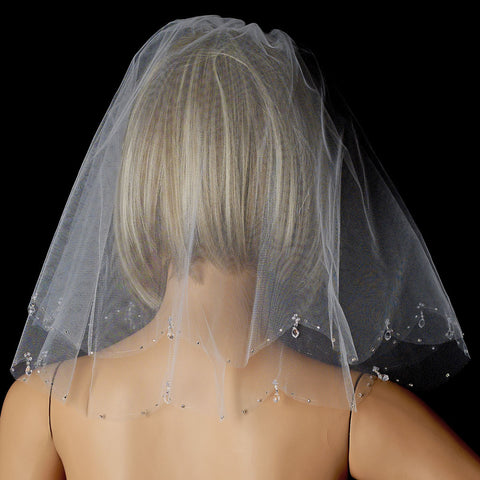 Single Layer Russian Blusher Bridal Wedding Veil with Scalloping Edge of Crystal Drops & Bugle Beads 705