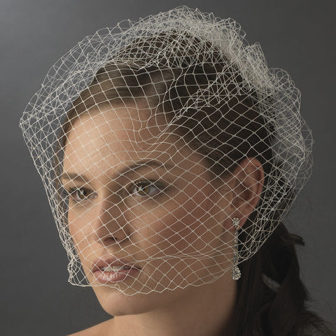 Plain Single Layered French Netting Birdcage Face Bridal Wedding Veil 900