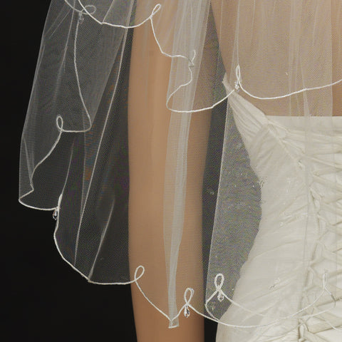 Bridal Wedding Veil 2006 - Fingertip Bridal Wedding Veil with Crystal Drop Accents (30