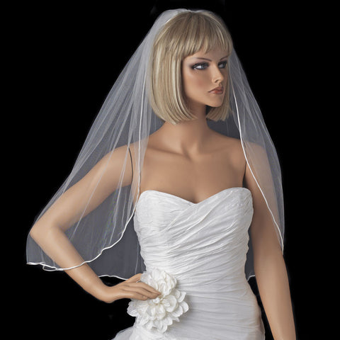 Bridal Wedding Rattail Satin Corded Edge Bridal Wedding Veil VR