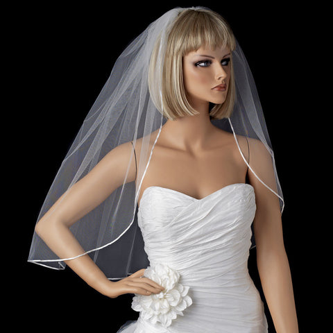 Bridal Wedding Satin Ribbon Edge Bridal Wedding Veil VS