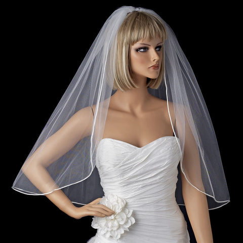 *Bridal Wedding Shimmer Rattail Satin Corded Edge Bridal Wedding Veil VSH R