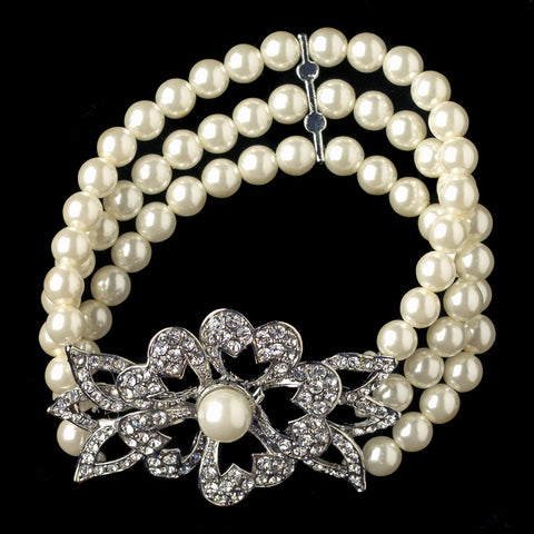 Rhodium Ivory Pearl Rhinestone Stretch Flower Bridal Wedding Bracelet