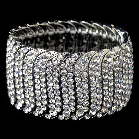 Silver Clear Rhinestone Stretch Bridal Wedding Bracelet