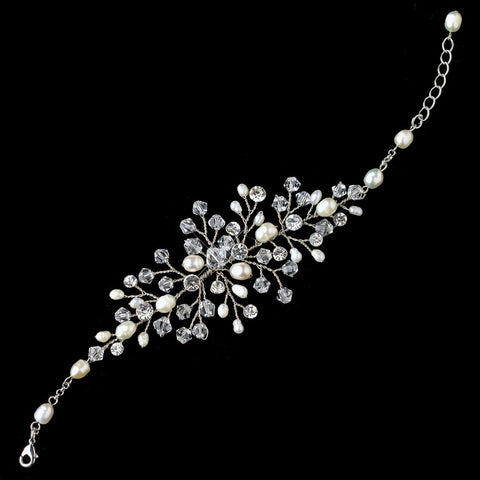 Silver Ivory Freshwater Pearl Crystal Clasp Bridal Wedding Bracelet