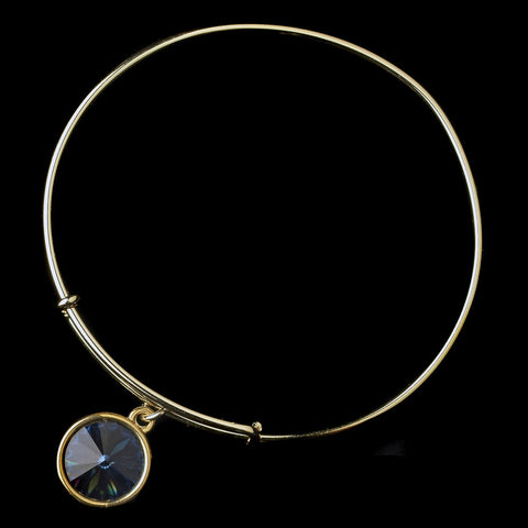 Gold Navy Gemstone Bangle Pendant Bridal Wedding Bracelet