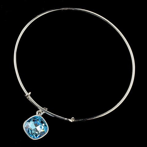 Silver Aqua Gemstone Bangle Pendant Bridal Wedding Bracelet