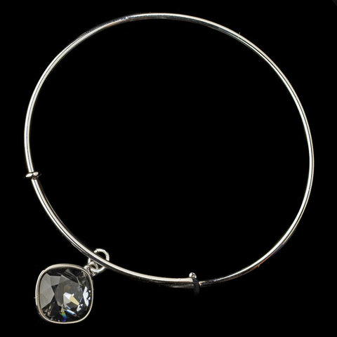 Silver Smoke Gemstone Bangle Pendant Bridal Wedding Bracelet