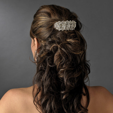 Gold Clear Bridal Wedding Hair Barrette 8336