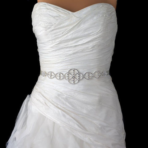 Silver Clear Rhinestone Bridal Wedding Belt 0116