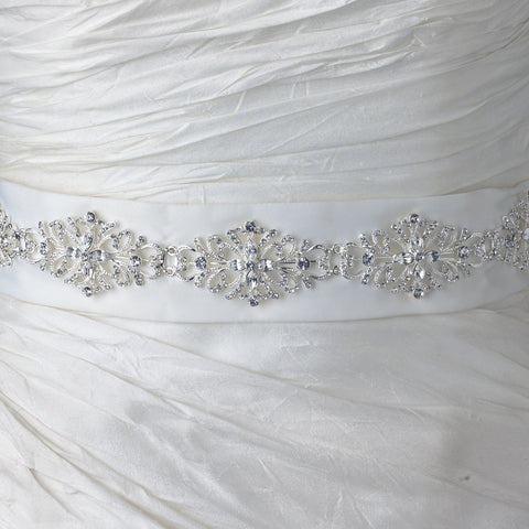 Ivory Matte Satin Floral Rhinestone Bridal Wedding Belt 136