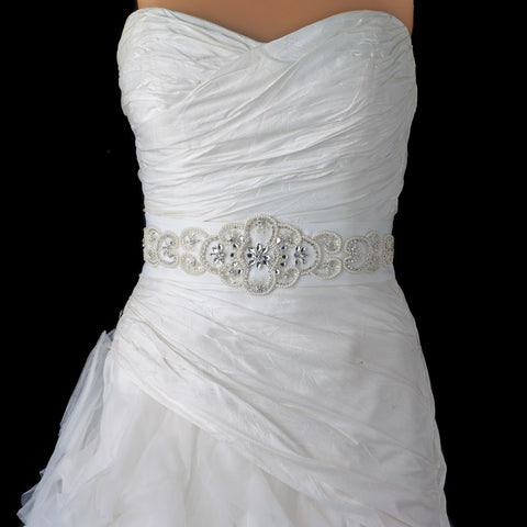 Ivory Matte Satin Rhinestone & Pearl Beaded Bridal Wedding Belt 205