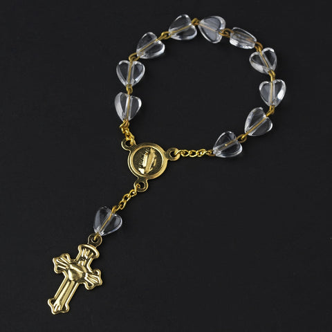 Gold Clear Crucifix Finger Rosaries (10 Per Pack) BQ 009