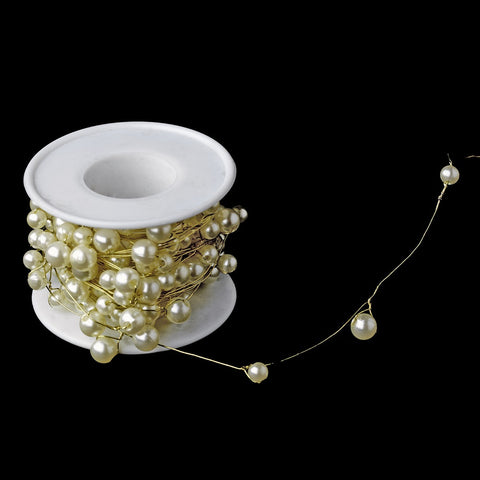 Bridal Wedding Bouquet Jewelry 273 Gold Ivory Pearl Wire (26 Foot Long)