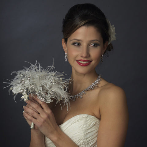 Diamond White Pearl, Rhinestone, Lace Feathered Bridal Wedding Bouquet 400
