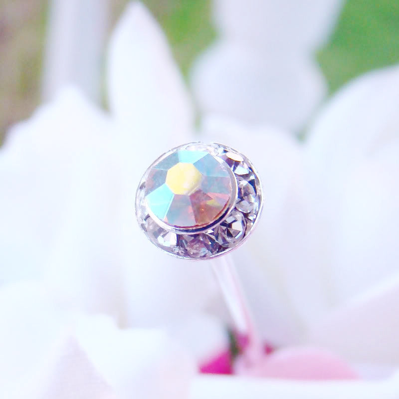 AB Iridescent Pave Button Crystal Bridal Wedding Bouquet Jewelry
