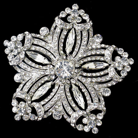 Rhodium Clear Rhinestone Starfish Bridal Wedding Brooch