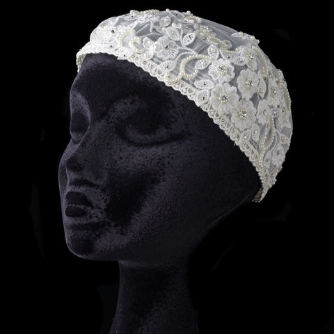 Floral Tulle Lace Headpiece Dome Hat with Rhinestone & Pearl Accents