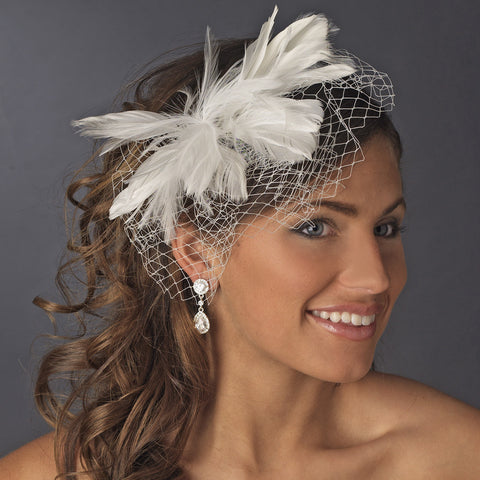 * Flower Feather Fascinator with Russian Tulle Bridal Wedding Veiling Accent on Bridal Wedding Hair Comb 750