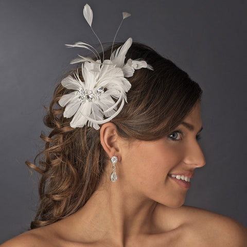 * Immaculate Diamond White Feather Bridal Wedding Hair Comb 8987