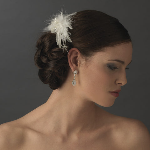 * Lovely Ivory Feather Spray Bridal Wedding Hair Comb w/ Pearls & Rhinestones 8432