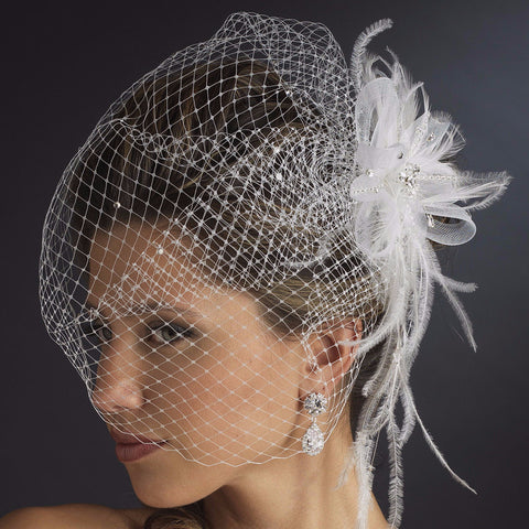 * Jeweled Feather Fascinator V Cage 3631 w/ Russian Bridal Wedding Veil