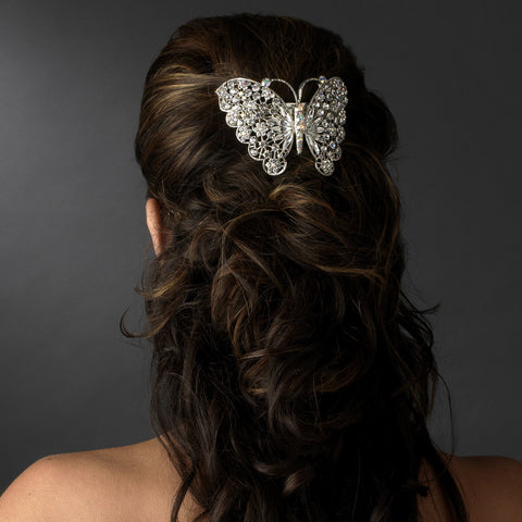 Silver Topaz AB Rhinestone Butterfly Bridal Wedding Hair Barrette 5090 XXL