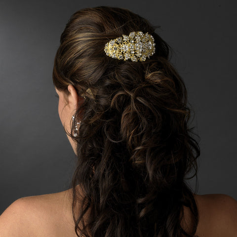 Gold Clear Bridal Wedding Hair Barrette 8335