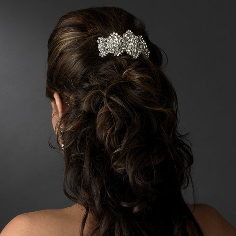 Silver Clear Bridal Wedding Hair Barrette 8337
