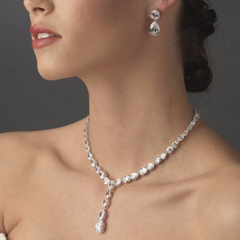Glamorous Silver Clear Cubic Zirconia Crystal Bridal Wedding Necklace 9834