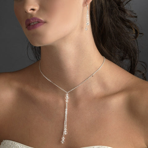 Silver Clear Bridal Wedding Necklace 8426