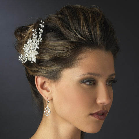Silver Ivory Beaded Flower Bridal Wedding Hair Comb with Sprigs of Rhinestones