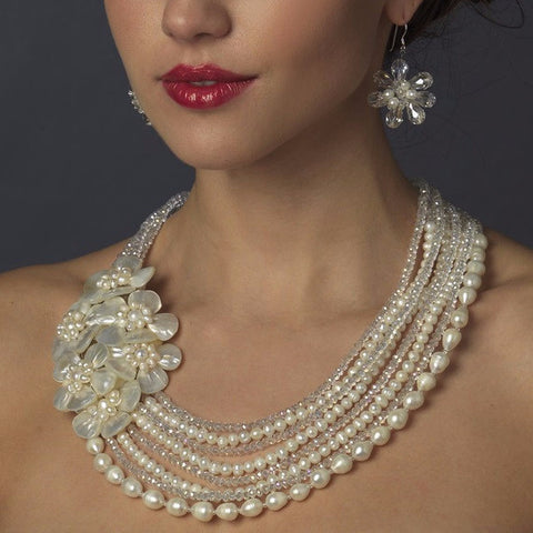 Silver Ivory Pearl & Austrian Crystal Flower  Necklace 8769 & Earrings 8253 Bridal Wedding Jewelry Set