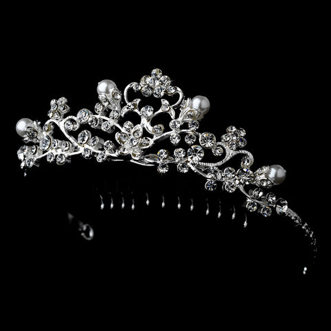 Fancy Pearl & Rhinestone Flower Girl Bridal Wedding Tiara Bridal Wedding Hair Comb HPC 760