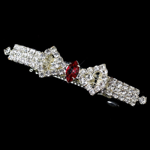 Silver Clear Burgundy Rhinestone Bow Bridal Wedding Hair Barrette