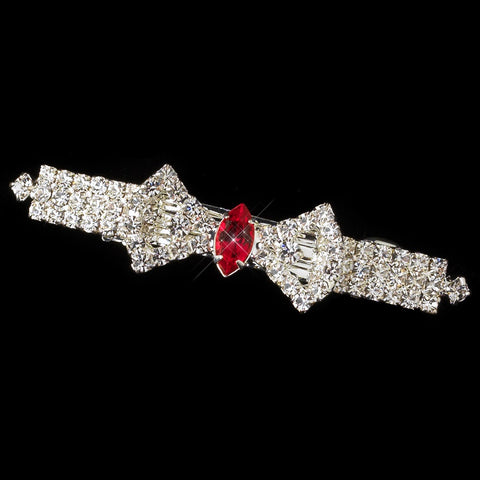 Silver Clear Red Rhinestone Bow Bridal Wedding Hair Barrette