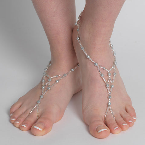 Light Blue Grey Pearl Beaded Foot Jewelry 6