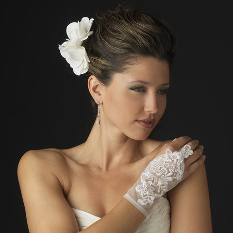 Sheer Fingerless Wrist Length Bridal Wedding Glove - GL 9132