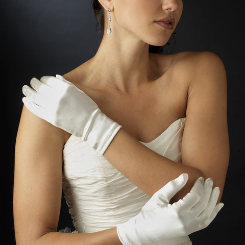 Wrist Formal Bridal Wedding Matte Satin/Satin Gloves