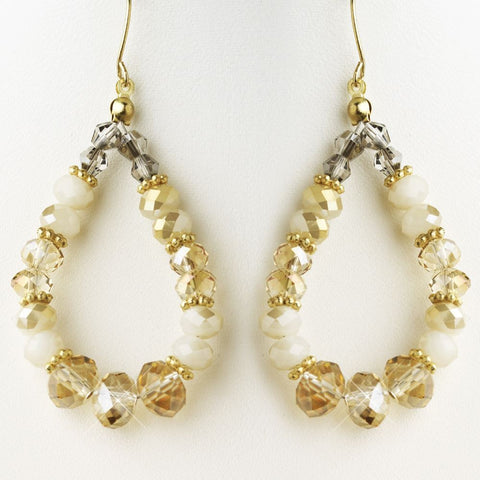 Gold Light Topaz, White & Smoke Mix Faceted Glass Stone Hoop Bridal Wedding Earrings