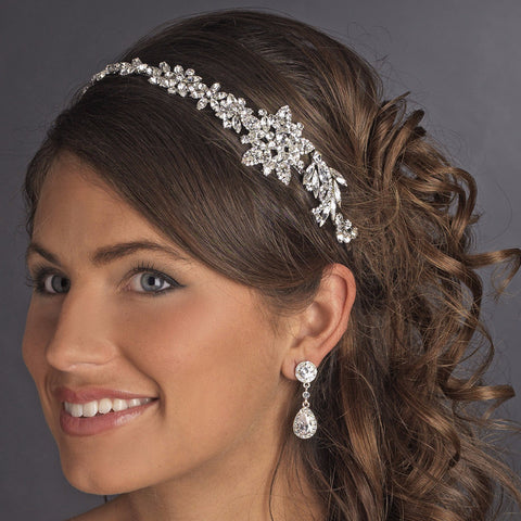 Vintage Bridal Wedding Headpiece with Side Accent HP 17966 Antique Silver