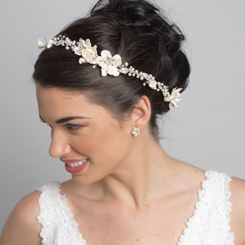Silver Clear Rhinestone & Ivory Pearl Floral Bridal Wedding Headband Headpiece 10002