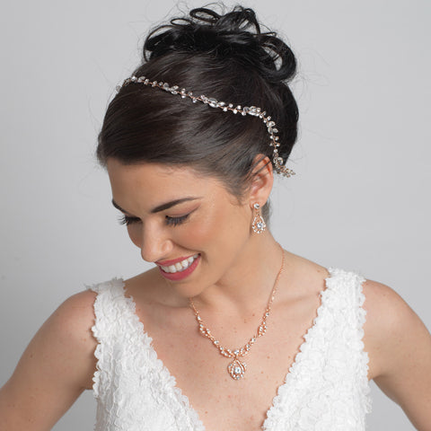 Rose Gold Clear Crystal & Rhinestone Bridal Wedding Vine Headband 10008